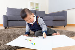Little boy love drawing Royalty Free Stock Photography