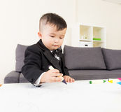Little boy love drawing Royalty Free Stock Photo