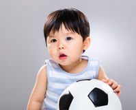 Little boy love football Royalty Free Stock Photos