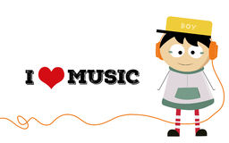 A little boy love music Stock Images
