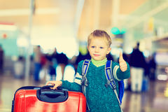 Little boy loves travel in the airport Royalty Free Stock Photos