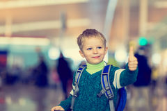 Little boy loves travel in the airport Royalty Free Stock Photography