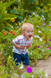 Little boy in a lush garden. Surrounded by flowers Stock Images