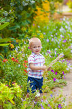 Little boy in a lush garden Royalty Free Stock Photo
