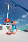 Little boy at luxury yacht Royalty Free Stock Photography