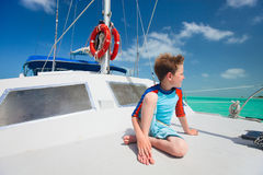 Little boy at luxury yacht Royalty Free Stock Images