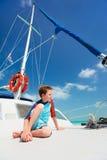 Little boy at luxury yacht Stock Photo