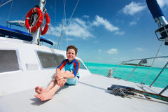 Little boy at luxury yacht Stock Photo