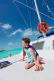 Little boy at luxury yacht Stock Photography
