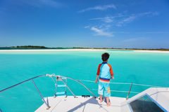 Little boy at luxury yacht Royalty Free Stock Photo