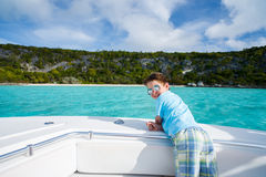 Little boy at luxury yacht Stock Image