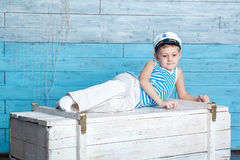 Little boy lying on the chest Stock Photos