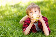 Little boy lying on grass with apple Stock Images