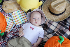 Little boy lying on his back, picnic Stock Photography