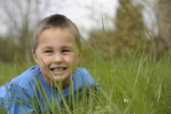Little boy lying on his belly in grass Royalty Free Stock Photos