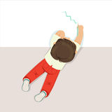 Little boy lying on his stomach and drawing using blue pencil, top view of child on the floor stock illustration