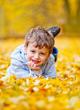 Little boy lying on the yellow leaves Stock Images