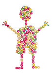 Little boy made of wooden beads Royalty Free Stock Photo