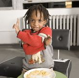 Little boy maing hand gestures Stock Photos