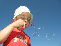 Little boy make ballon Royalty Free Stock Images