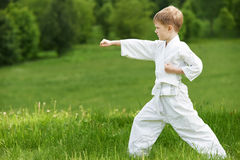 Little boy make karate exercises Stock Photos