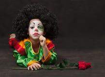 Little boy, make-up of clown, african Stock Photos