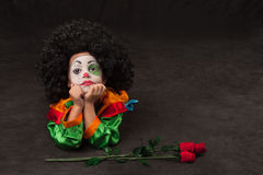 Little boy, make-up of clown, african Stock Photo