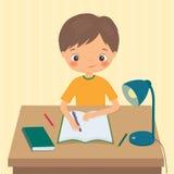 Little boy makes a homework. Cartoon vector illustration Royalty Free Stock Images