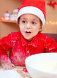 Little boy making Christmas cookies Royalty Free Stock Photos