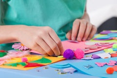 Little boy making crafts Royalty Free Stock Images