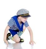 The little boy in marine vest stock image