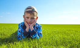 Little boy on meadow Royalty Free Stock Photography