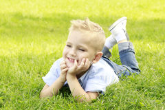 Little boy in the meadow smiling Stock Image