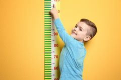 Little boy measuring his height. On color background stock photography