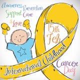 Little Boy med det guld- bandet som firar minnet av den internationella barndomcancerdagen, vektorillustration stock illustrationer