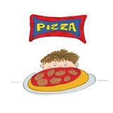Little Boy med pizza royaltyfri illustrationer