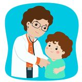 Little boy on medical check up with male pediatrician doctor ca. Little boy on medical check up with male pediatrician doctor. Vector illustration in a flat Royalty Free Stock Images