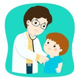 Little boy on medical check up with male pediatrician doctor car. Little boy on medical check up with male pediatrician doctor. Vector illustration in a flat Royalty Free Stock Photo