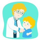 Little boy on medical check up with male pediatrician doctor. Vector illustration in a flat style Stock Photos