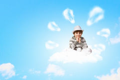Little boy meditating Royalty Free Stock Photo
