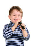 Little boy with a microphone Stock Photos