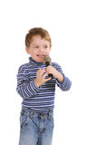 Little boy with a microphone Stock Image