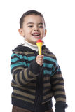 Little Boy with Microphone. Isolated on White Background Stock Photo
