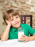 Little boy with milk Stock Photography
