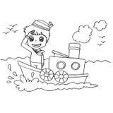 Little Boy mit einem Bootsfarbton-Seitenvektor Stockbild