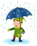 Little Boy mit Regenschirm Stockbilder