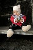 Little Boy mit Steuerknüppel stockbild