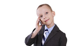 Little boy with mobile Stock Images