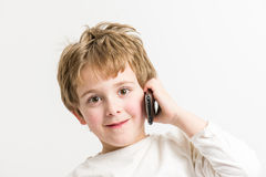 Little Boy Mobile Call Stock Images