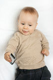 Little boy with mobile phone Stock Photos